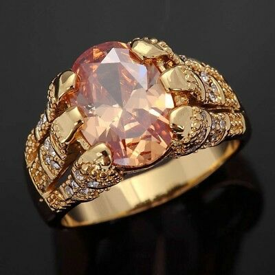 Trendy Size 8-11 Champagne Topaz 18K Gold Filled Man's Anniversary Rings Gift