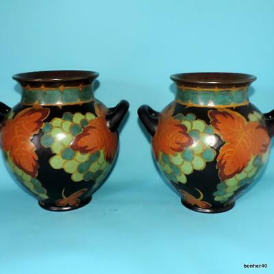 Art-Crafts Gouda Zuid-Holland Plateel Dutch Folk Art Deco Pair 'hilda' Vases