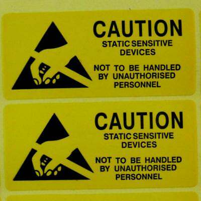 20 Caution Static Sensitive Devices Stickers Warning Adhesive Labels 25 X 50mm.