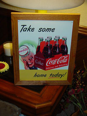Coca Cola Custom Cedar Framed Vintage Retro Tin Sprite Boy Bar Sign