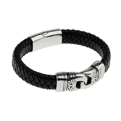 Stainless Steel Braided Leather Bracelet for Men Bangle Wrap Magnetic Clasp