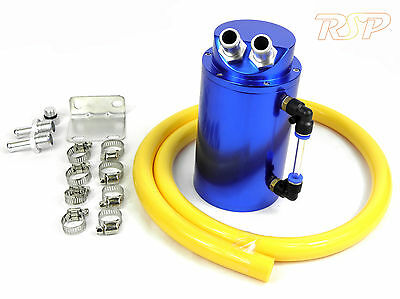 Blue Alloy Oil Catch Tank Can Yellow 19mm Hose VW Audi Seat Skoda 1.8 20v Turbo
