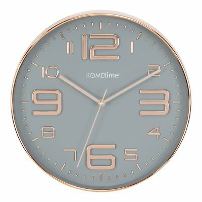 Hometime Large Round Wall Clock Grey Dial & Copper Hands Numbers & Bezel 30.5Cm