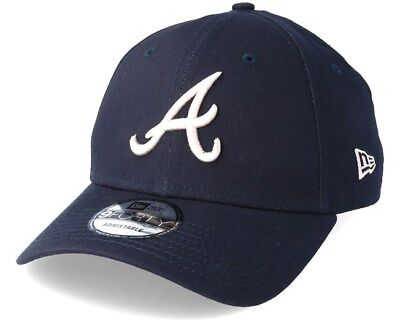 New Era 9FORTY Atlanta Braves Navy League Essential Curved Peak Strapback Cap