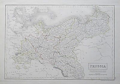 1844 PRUSSIA GENUINE ANTIQUE MAP Engraved by Sidney Hall / Black