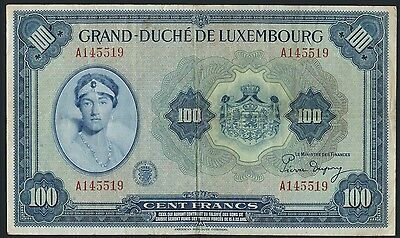 Luxemburg / Luxembourg 100 Francs (1944) Pick 47 (3)