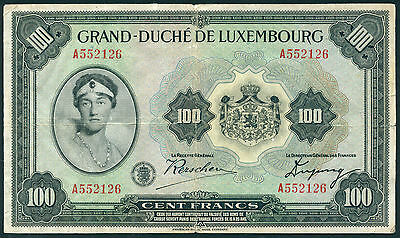 Luxemburg / Luxembourg 100 Francs 1934 Pick 39a (3-) A552126