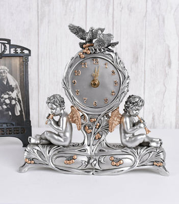 Fireplace Clock Angel Watch Antique Style Cupids Table Clock Vintage