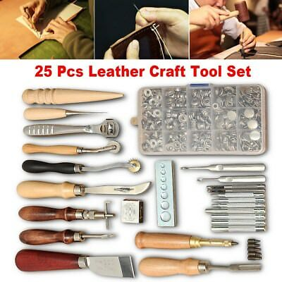 25tlg. Leder Werkzeug Leather Craft Hand Sewing Stitching Groover Tool Kits Set