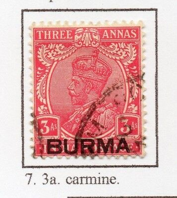 Burma 1937 GV Early Issue Fine Used 3a. Optd 228486