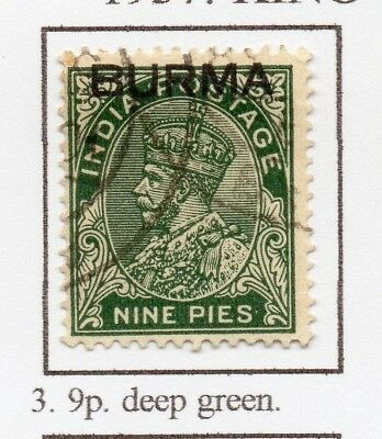 Burma 1937 GV Early Issue Fine Used 9p. Optd 228482