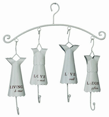 Hook bar Shabby Chic Wardrobe Hangers White Coat Rack Wall Mounted Four Hook