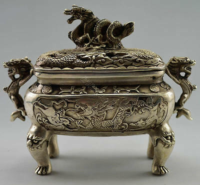 Collectible Decorated Old Handwork Tibet Silver Carved Dragon Incense Burner