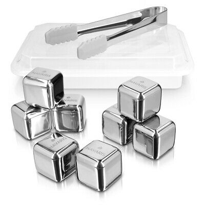 Ice cube 8x stainless steel whiskey stones set cube silver whiskey stones