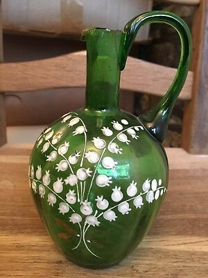 """Antique Mary Gregory Victorian c.19th Hand-blown Glass Jug """"Lilly of the Valley"""""""