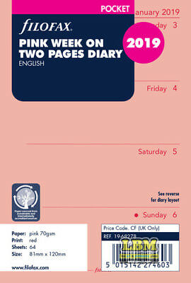 Filofax 2019 Pocket size Diary - Week On Two Pages Pink Insert Refill I9-68278