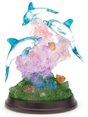 Crystal LIGHT-UP DOLPHIN SCULPTURE Three Dancing Dolphins (Accent Plus)!