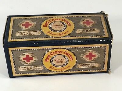 Full Sealed Box Vintage Red Cross Cotton First Aid Sterile Pad Johnson & Johnson