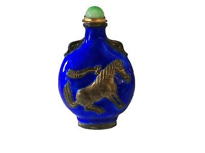 Old Chinese Enamel Bronze Snuff Bottle w/Tang Horse
