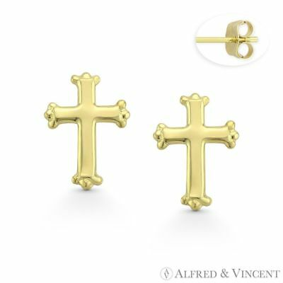 St. Thomas Botonee Medieval Cross 14k Yellow Gold Christian Charm Stud Earrings