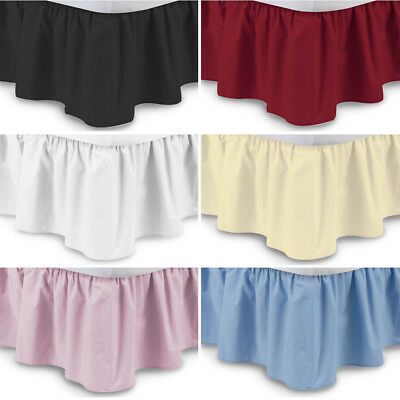 Pure Color Plain Elastic Bed Ruffle Skirt Easy Fit Wrap Around Queen King Size