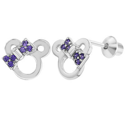 925 Sterling Silver Purple Cz Bow Mouse Back Earrings Toddlers S