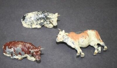 3 Vintage Cast Metal (Lead) Britiains Figurines Cows, Paint Loss ...............