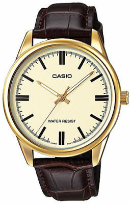 Casio MTP-V005GL-9A Men's Analog Watch BROWN Leather Water Resist GOLD-tone Dial