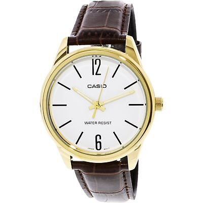 NEW Casio MTP-v005GL-7B Men's Analog Watch BROWN Leather Water Resist WHITE Dial