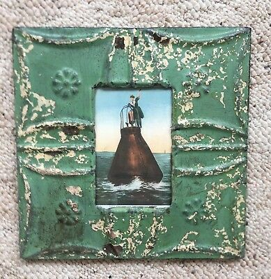 "Antique 1890's Ceiling Tin Picture Frame 4"" x 6"" Reclaimed Metal Green 144-18"