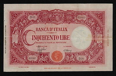 ITALY (P070) 500 Lire 1943 8.10 aF/F