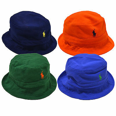 bc7bf983ecd Polo Ralph Lauren Mesh Knit Mens Bucket Hat Embroidered Pony Logo Solid Cap  New