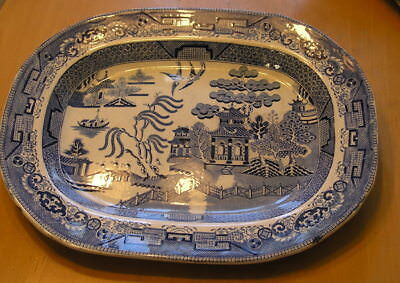 Rare Early Antique English Blue Willow Oblong Platter 12.5 x15.75 inches Unmarkd