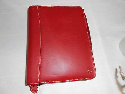 "Franklin Covey redLeather Compact ZIPPER Planner 7 - 1.25"" Rings"