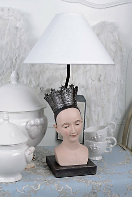 Table Lamp Shabby Chic Light Bust Crown of Woman Desk Antique