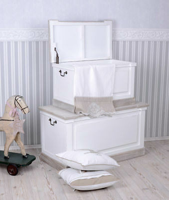 Chests Two Piece Chest Country House Style Wood Chest Stool White