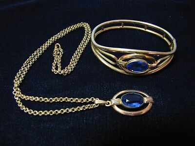Beautiful Vintage 1930's Simmons Glass Sapphire Hinged Bangle Bracelet &Necklace