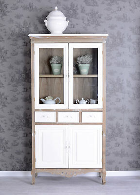 Buffet Kitchen Cabinet Shabby Chic Glass-Front Antique Country House