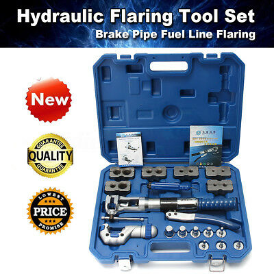 Hydraulic Flaring Tool Set Kit Brake Pipe Fuel Line Expander + Cutter with Case