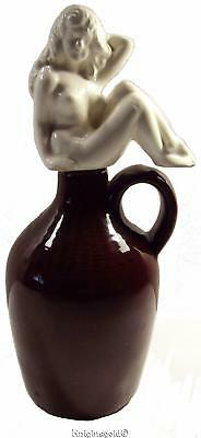 Nude Decanter Bottle Sexy Woman Lady Stopper Vintage 50's Japan Pottery