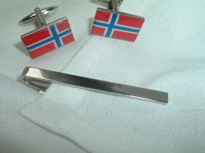 Vintage Enamel Flag Of Norway Cufflinks And Tie Clasp Set In Gift Box