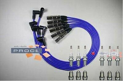Ignition Leads VW Golf Vento 2,8 2,9 VR6 AAA Spark Plug NGK platin2890 Blue