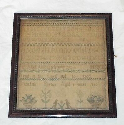 EARLY Antique 1840 EMBROIDERED SAMPLER Alphabet & Motto ELIZABETH BARTON Age 8