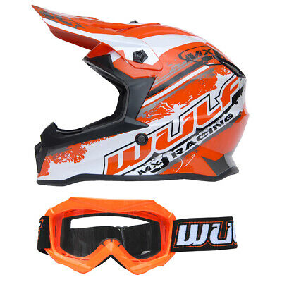 Kinder Cross Brille + Helm Flite-Xtra L 51-52cm Orange Motorrad Quad Bike MX BMX