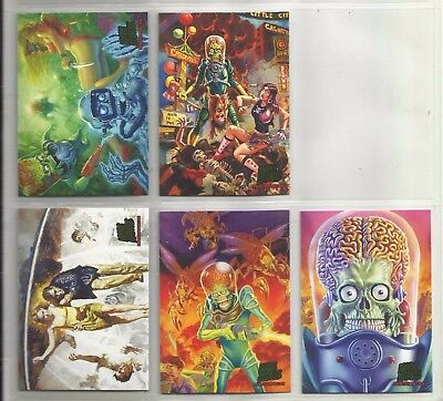 "2013 Mars Attack Invasion MASTERPIECES ""Complete Set"" of 5 Chase Cards (1-5)"