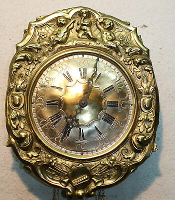 Old Wall Clock Comtoise in Brass cantilever with figures of Cherubs