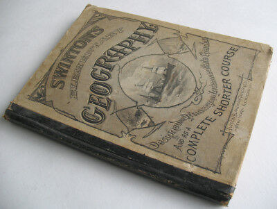 Swinton's Elementary Geography 1875 1st Ed w/ Old Color Maps Vintage Cartography
