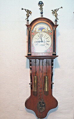 Old Wall Clock Friesen Dutch Clock Warmink Wuba 8Day with Moonphase