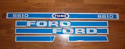 5 Piece Blue Hood Decal Set Replaces D-F6610 for FORD New Holland Tractor 6610