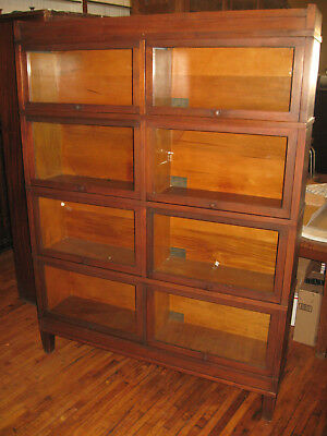 WE SHIP! Mission Walnut Double Wide 4 Stack Bookcase Arts & Crafts Barrister